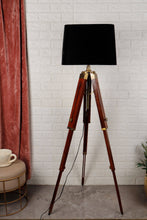 Load image into Gallery viewer, Triple Fold Brass Lamp Stand with Black Lampshade in [3 Size]