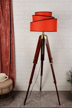 Load image into Gallery viewer, Triple Fold Brass Lamp Stand with Designer Red Rose Shade