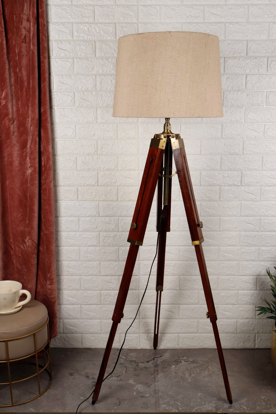 Triple Fold Brass Lamp Stand with Beige Lampshade in [2 Size]