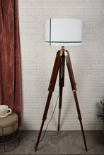 Load image into Gallery viewer, Triple Fold Brass Lamp Stand with Green Stripes White Shade in [2 Size]