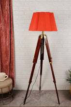Load image into Gallery viewer, Triple Fold Brass Lamp Stand with Designer Red Shade