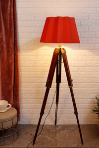Triple Fold Brass Lamp Stand with Designer Red Shade