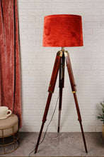 Load image into Gallery viewer, Triple Fold Brass Lamp Stand with 3 [RUST ORANGE, RED, PURPLE] Shade