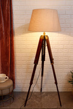 Load image into Gallery viewer, Triple Fold Brass Lamp Stand with Beige Lampshade in [2 Size]