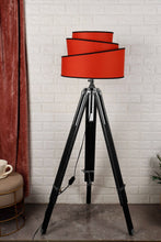 Load image into Gallery viewer, Double Fold Black Lamp Stand with Red Rose Designer Shade