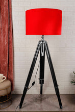 Load image into Gallery viewer, Double Fold Black Lamp Stand with Red Velvet Shade in [2 Sizes]