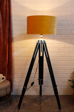Load image into Gallery viewer, Double Fold Black Lamp Stand with YELLOW Shade in [3 Sizes]