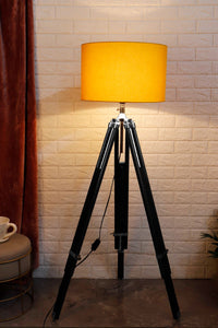 Double Fold Black Lamp Stand with YELLOW Shade in [3 Sizes]