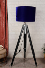 Load image into Gallery viewer, Blue Velvet Drum Lampshade [18 Inches]