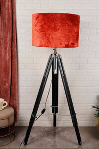 Double Fold Black Lamp Stand with Rust Orange Shade in [2 Sizes]
