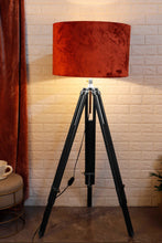 Load image into Gallery viewer, Double Fold Black Lamp Stand with Rust Orange Shade in [2 Sizes]