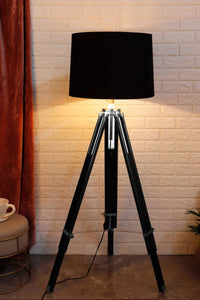 Double Fold Black Lamp Stand with BLACK Shade in [3 Sizes]