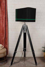 Load image into Gallery viewer, Double Fold Black Lamp Stand with Green Stripes BLACK Shade in [2 Sizes]