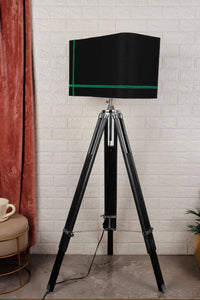 Double Fold Black Lamp Stand with Green Stripes BLACK Shade in [2 Sizes]