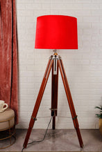 Load image into Gallery viewer, Double Fold Brown Lamp Stand with Red Velvet Shade in [2 Sizes]