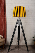 Load image into Gallery viewer, Double Fold Black Lamp Stand with Yellow Yarn Lampshade