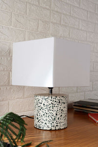 White Terrazzo Table Lamp with 2 Rectangle [BLACK, WHITE] Shade