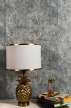 Load image into Gallery viewer, Tropical Table Lamp with Golden Striped White Lampshade