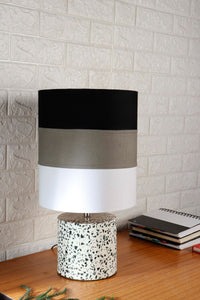 White Terrazzo Table Lamp with Multi-color Lampshade