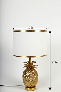 Tropical Table Lamp with Golden Striped White Lampshade