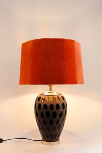Purple Dot Glass Table Lamp with Hexagon Rugged Orange Lampshade