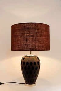 Purple Dot Glass Table Lamp with Brown Lampshade