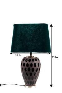 Purple Dot Glass Table Lamp with Bottle Green Lampshade