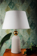 Load image into Gallery viewer, Golden Egg Table Lamp with 2 [WHITE, BEIGE] Tapered Shade