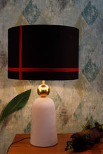 Load image into Gallery viewer, Golden Egg Table Lamp with 2 [BLACK, WHITE] Red Stripe Shade