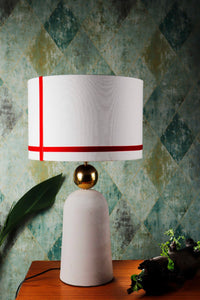 Golden Egg Table Lamp with 2 [BLACK, WHITE] Red Stripe Shade