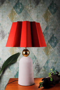 Golden Egg Table Lamp with Red Folded Designer Shade