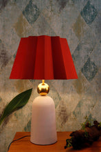 Load image into Gallery viewer, Golden Egg Table Lamp with Red Folded Designer Shade
