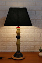 Load image into Gallery viewer, Lassie Table Lamp with Trapezoid Green Velvet Lampshade