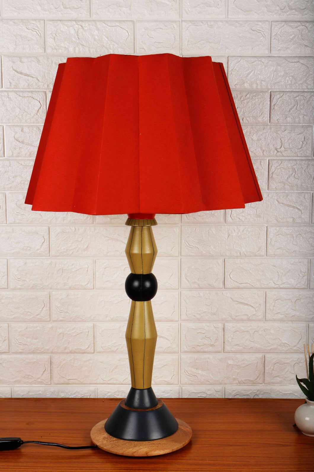 Lassie Table Lamp with Designer Red Folded Lampshade