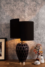 Load image into Gallery viewer, Newly Design Black Shade Purple Dot Glass Table Lamp
