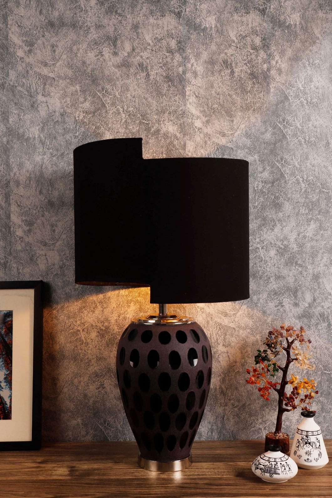 Newly Design Black Shade Purple Dot Glass Table Lamp