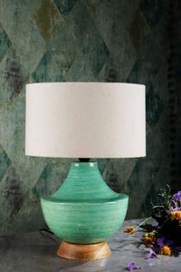 blue green table lamp