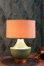 Load image into Gallery viewer, vintage green glass table lamp