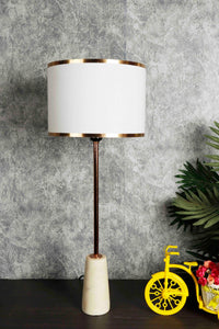 Golden Trim White Lampshade with a Long Marble Base Table Lamp