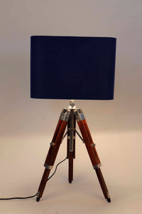 Small Nickle Table Lamp with Blue Lampshade [in 2 Sizes]
