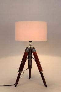 Small Nickle Table Lamp with White Lampshade [in 4 Sizes]