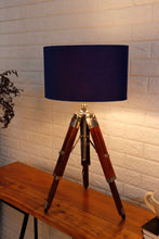 Load image into Gallery viewer, Small Nickle Table Lamp with Blue Lampshade [in 2 Sizes]