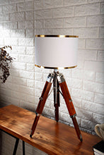 Load image into Gallery viewer, Small Nickle Table Lamp with White Lampshade [in 4 Sizes]