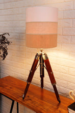 Load image into Gallery viewer, Small Nickle Table Lamp with 2 Multi-color Shade
