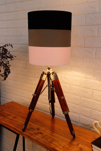 Small Nickle Table Lamp with 2 Multi-color Shade