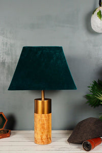 Old is Gold Table Lamp with 2 (Velvet, Green Velvet) Lampshade