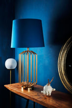 Load image into Gallery viewer, Golden Coop Table Lamp with Tapered Blue Shade