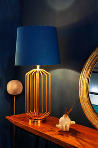 Golden Coop Table Lamp with Tapered Blue Shade