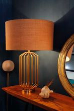 Load image into Gallery viewer, Golden Coop Table Lamp with 3 [JUTE BROWN, OLIVE, GREY] Shade