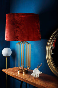 Golden Coop Table Lamp with 3 [RUST ORANGE, BLACK, GREEN] Shade